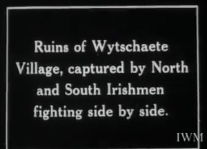 The 16th Irish and 36th Ulster Divisions actually fought on either side of the bridge at Wytschaete, some distance apart. Courstesy of the Trustees of the Imperial War Museum.